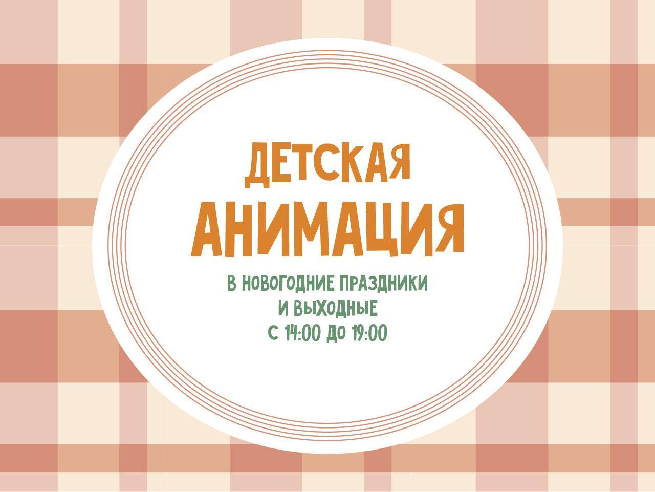Детская анимация в новогодние каникулы и выходные с 14:00 до 19:00!
